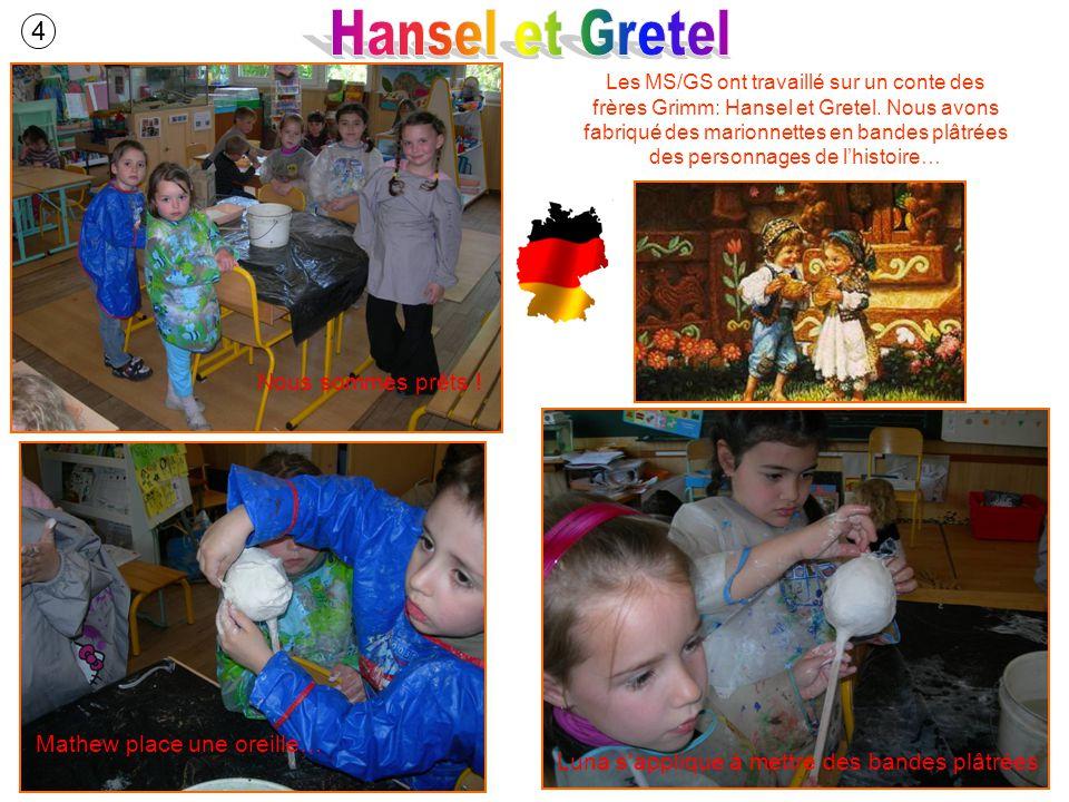 Les MS/GS ont travaillé sur un conte des frères Grimm: Hansel et Gretel. Nous avons fabriqué des marionnettes en bandes plâtrées des personnages de lh