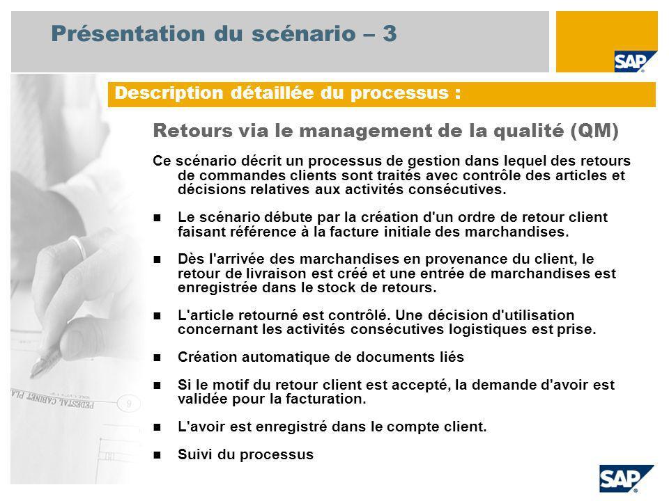 Présentation du scénario – 3 Retours via le management de la qualité (QM) Ce scénario décrit un processus de gestion dans lequel des retours de comman