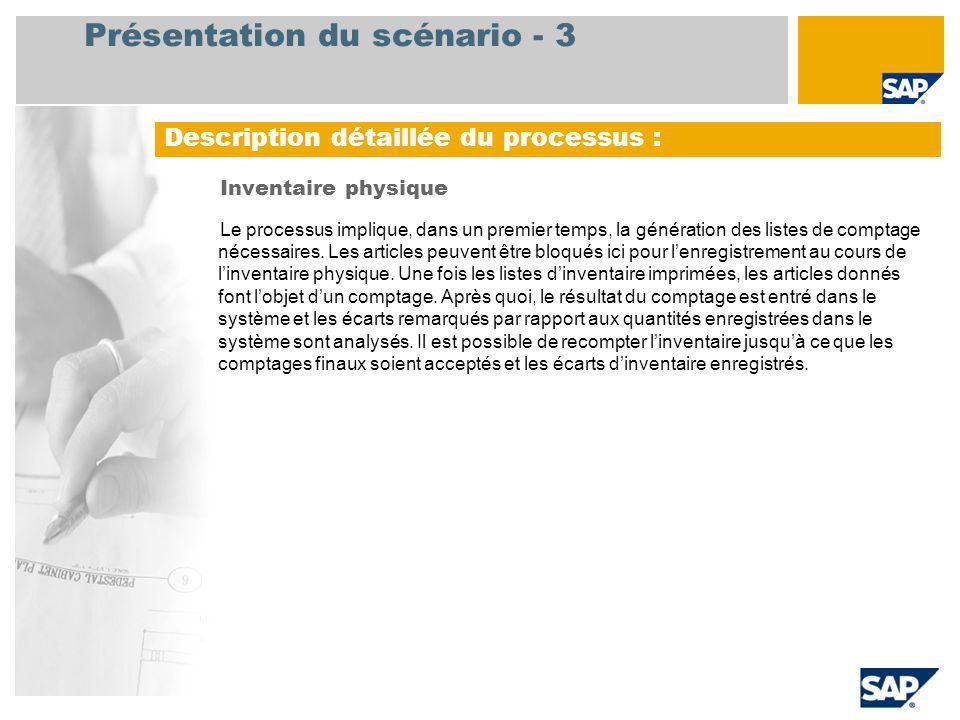 Présentation du scénario - 3 Inventaire physique Le processus implique, dans un premier temps, la génération des listes de comptage nécessaires.