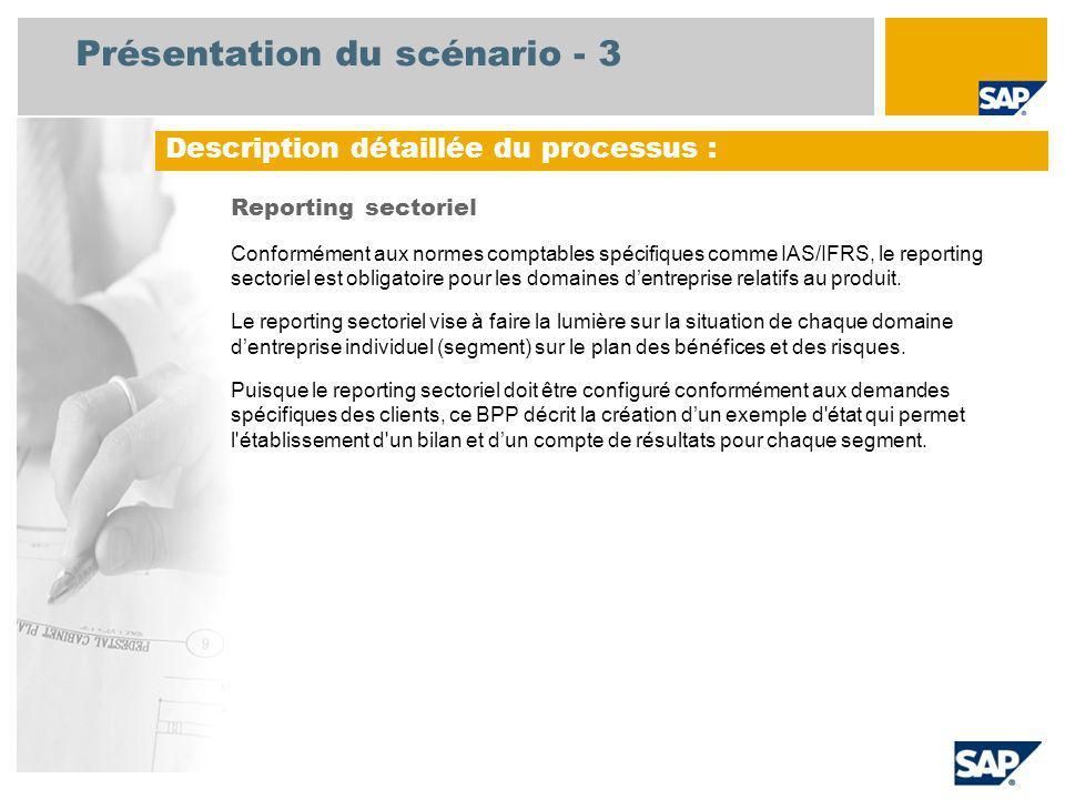Présentation du scénario - 3 Reporting sectoriel Conformément aux normes comptables spécifiques comme IAS/IFRS, le reporting sectoriel est obligatoire