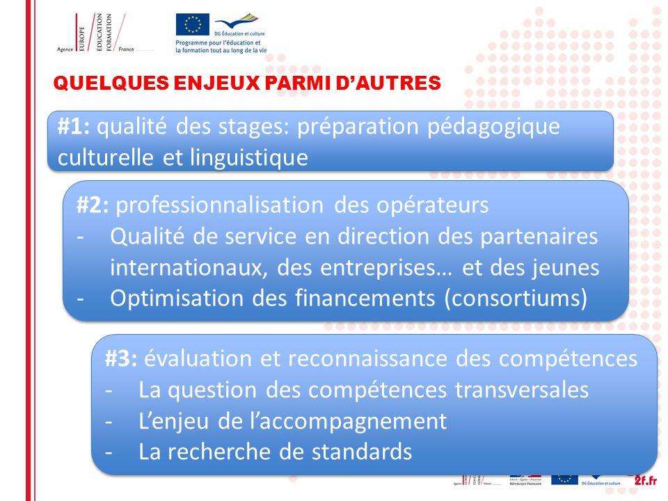 QUELQUES ENJEUX PARMI DAUTRES #1: qualité des stages: préparation pédagogique culturelle et linguistique #2: professionnalisation des opérateurs -Qual