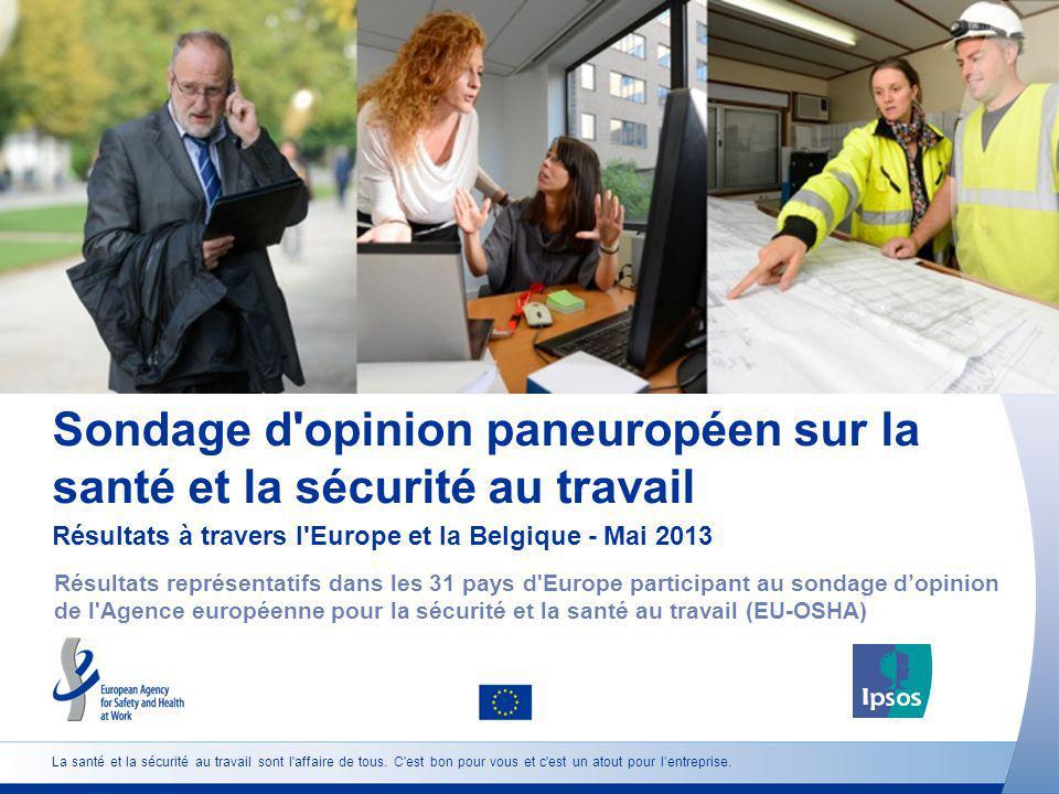 Sondage d'opinion paneuropéen sur la santé et la sécurité au travail Résultats à travers l'Europe et la Belgique - Mai 2013 Résultats représentatifs d