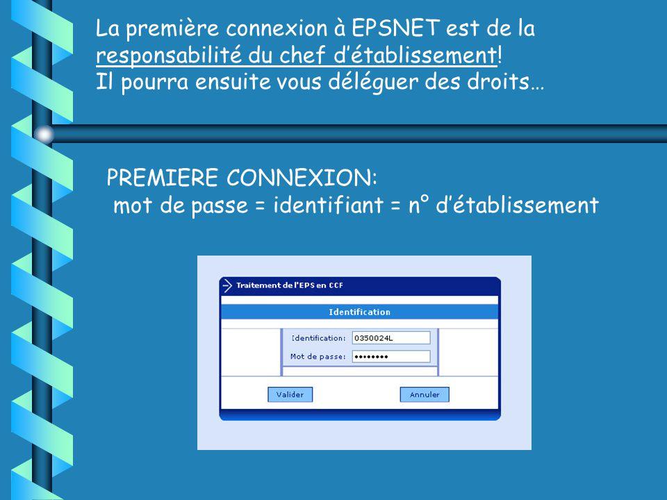 PREMIERE CONNEXION: mot de passe = identifiant = n° détablissement La première connexion à EPSNET est de la responsabilité du chef détablissement.