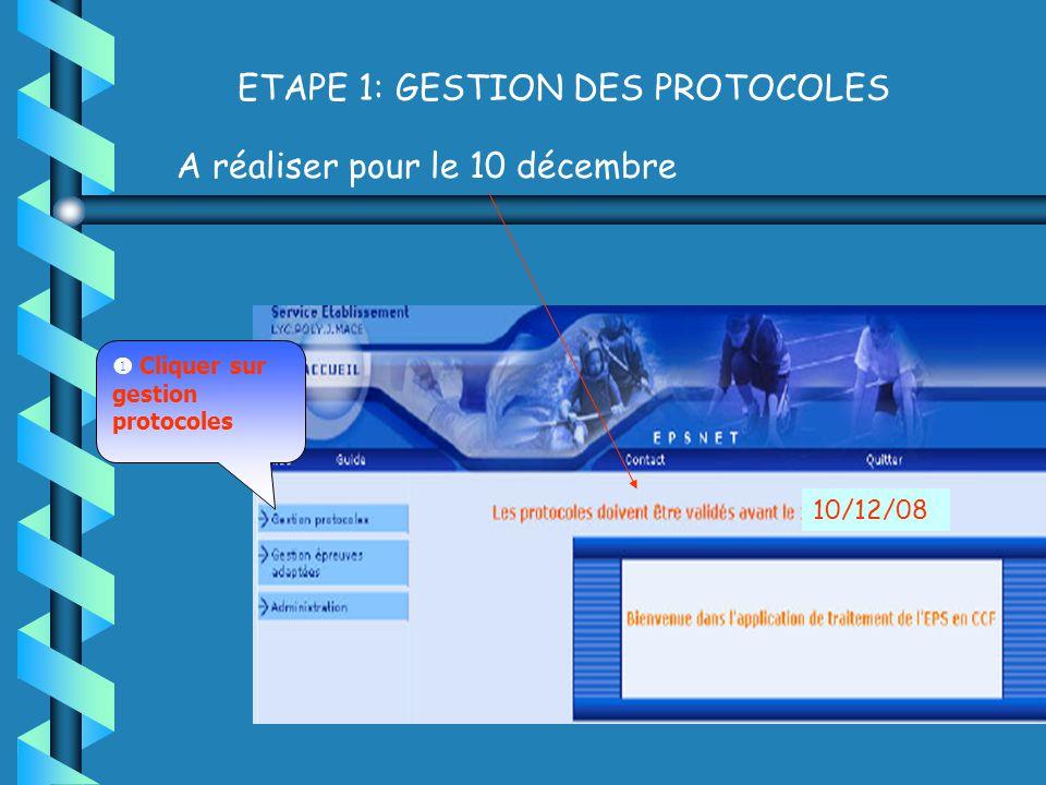 ETAPE 1: GESTION DES PROTOCOLES A réaliser pour le 10 décembre Cliquer sur gestion protocoles 10/12/08