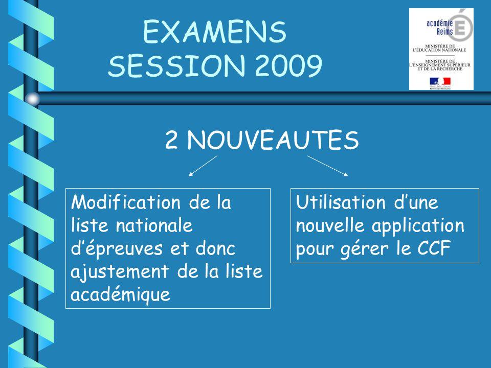 EXAMENS SESSION 2009 2 NOUVEAUTES Modification de la liste nationale dépreuves et donc ajustement de la liste académique Utilisation dune nouvelle application pour gérer le CCF