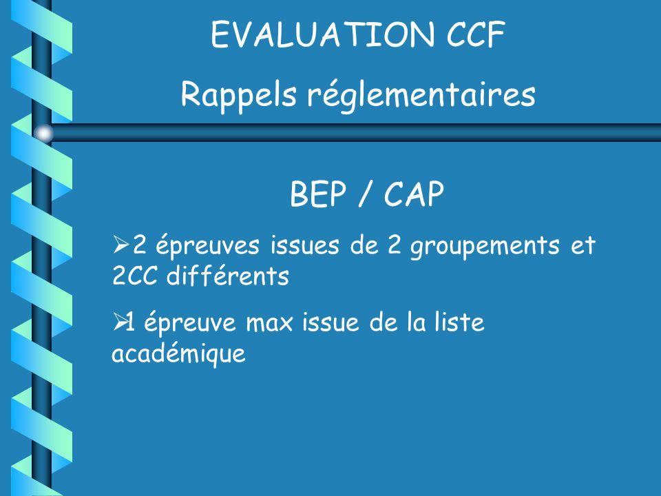 EVALUATION CCF Rappels réglementaires BEP / CAP 2 épreuves issues de 2 groupements et 2CC différents 1 épreuve max issue de la liste académique