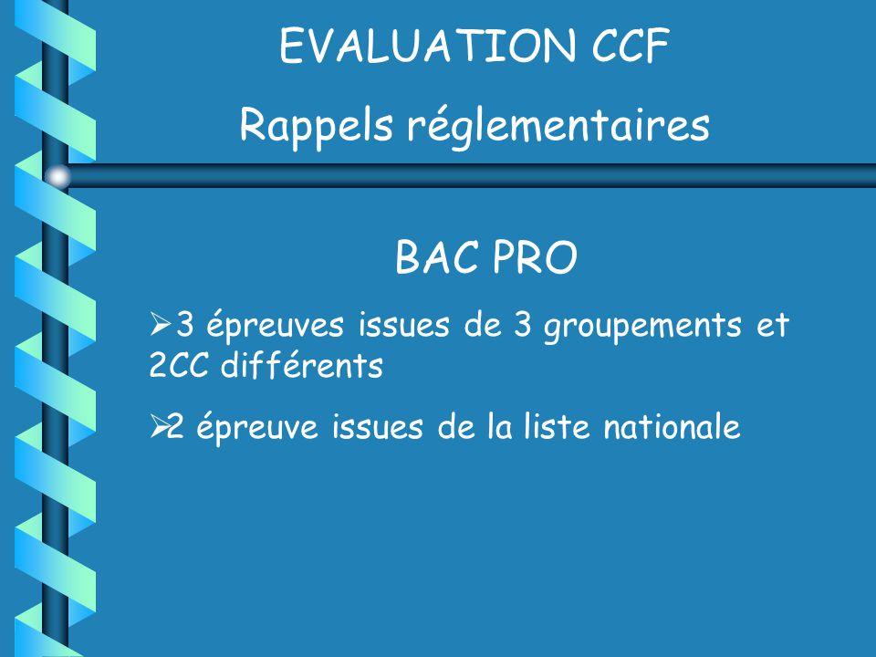EVALUATION CCF Rappels réglementaires BAC PRO 3 épreuves issues de 3 groupements et 2CC différents 2 épreuve issues de la liste nationale