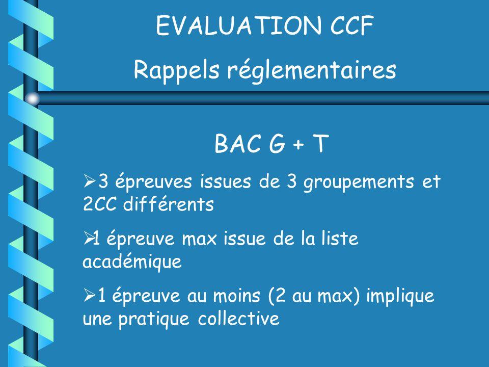EVALUATION CCF Rappels réglementaires BAC G + T 3 épreuves issues de 3 groupements et 2CC différents 1 épreuve max issue de la liste académique 1 épreuve au moins (2 au max) implique une pratique collective