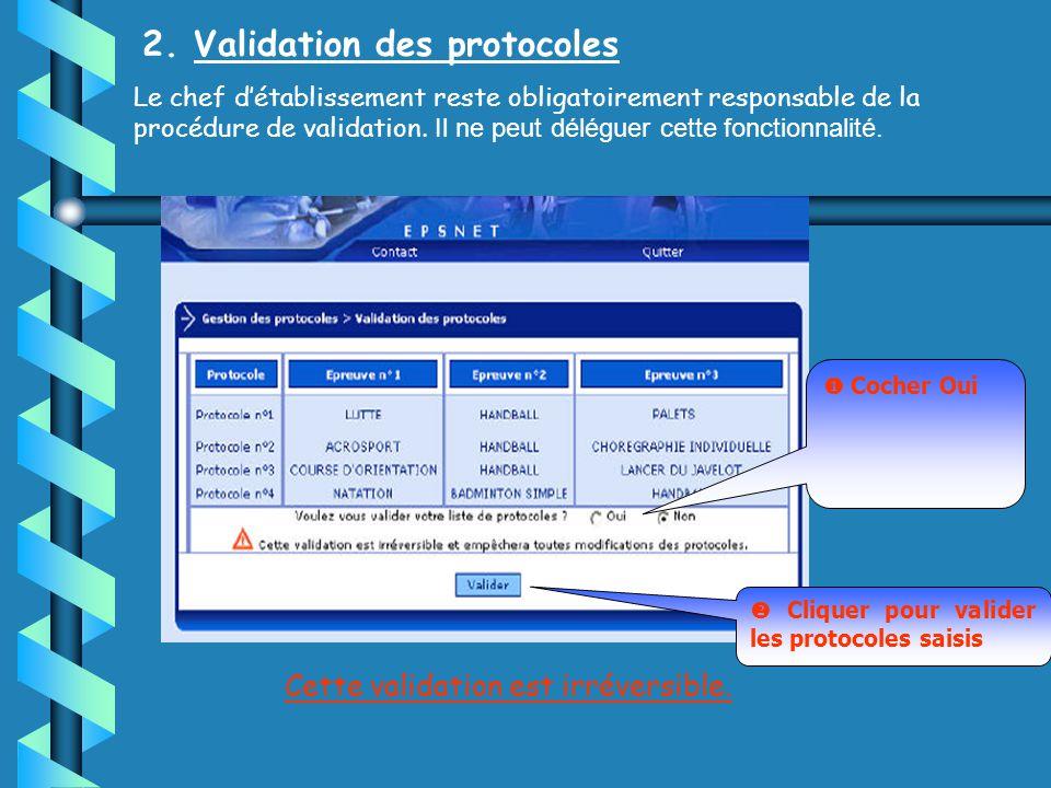 2. Validation des protocoles Le chef détablissement reste obligatoirement responsable de la procédure de validation. Il ne peut déléguer cette fonctio