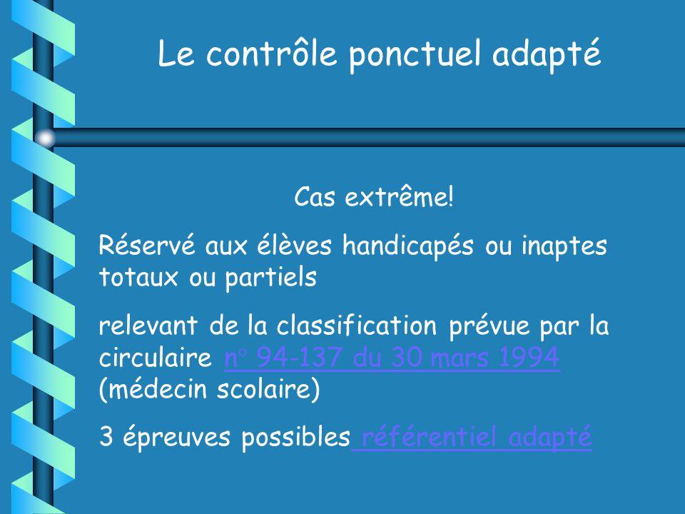 Le contrôle ponctuel adapté Cas extrême.