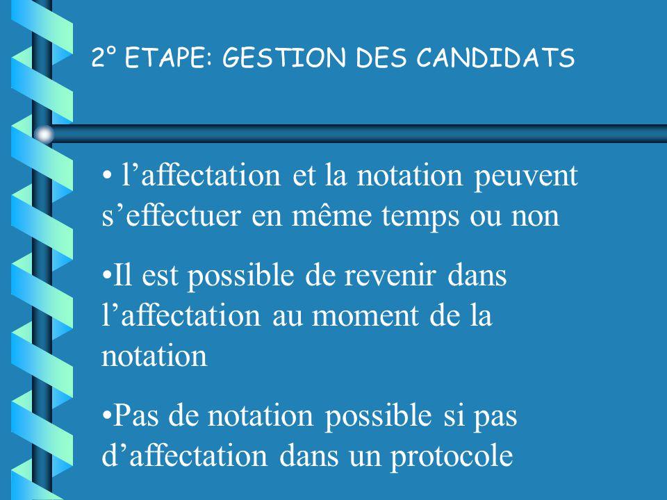 2° ETAPE: GESTION DES CANDIDATS laffectation et la notation peuvent seffectuer en même temps ou non Il est possible de revenir dans laffectation au moment de la notation Pas de notation possible si pas daffectation dans un protocole