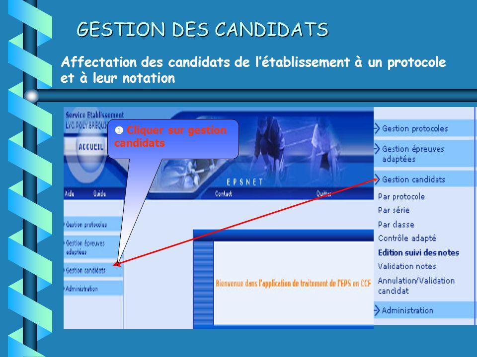 GESTION DES CANDIDATS Affectation des candidats de létablissement à un protocole et à leur notation Cliquer sur gestion candidats