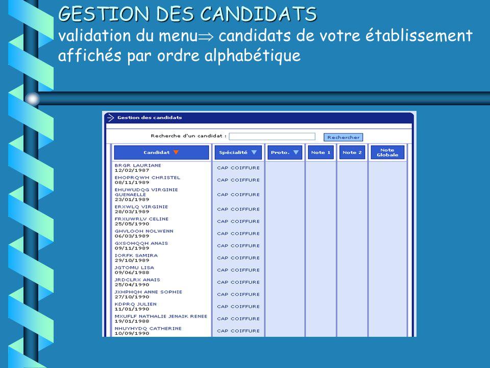 GESTION DES CANDIDATS validation du menu candidats de votre établissement affichés par ordre alphabétique
