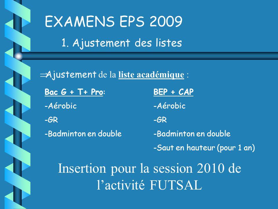 EXAMENS EPS 2009 1.