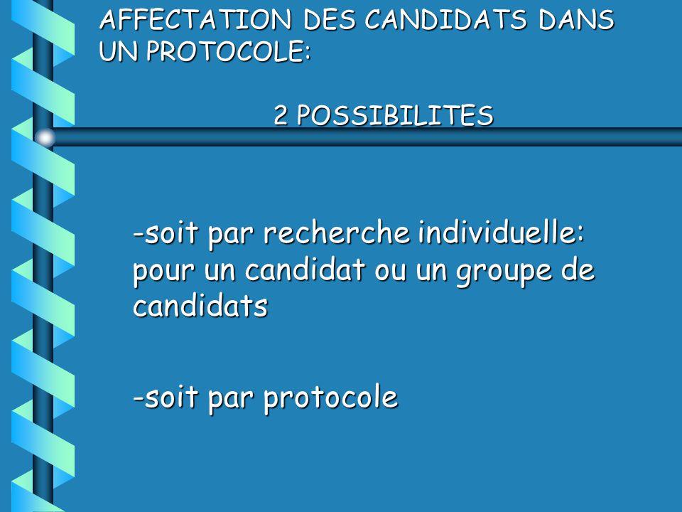 AFFECTATION DES CANDIDATS DANS UN PROTOCOLE: 2 POSSIBILITES -soit par recherche individuelle: pour un candidat ou un groupe de candidats -soit par protocole