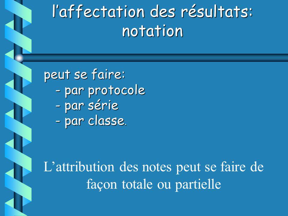 laffectation des résultats: notation peut se faire: - par protocole - par protocole - par série - par série - par classe.