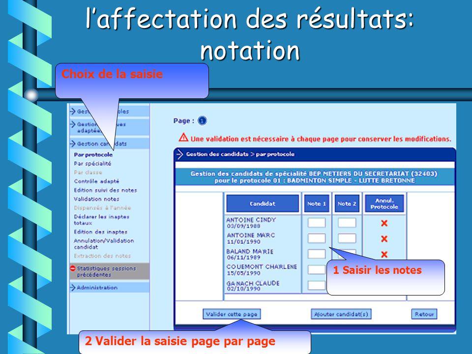 laffectation des résultats: notation 1 Saisir les notes 2 Valider la saisie page par page Choix de la saisie