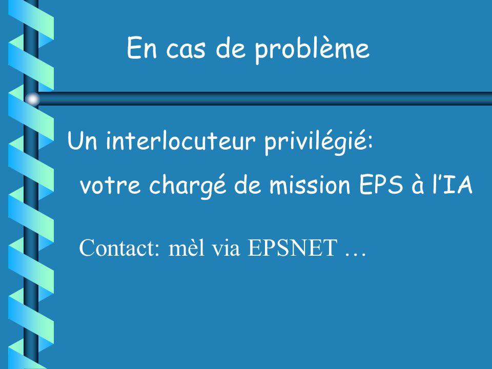 En cas de problème Un interlocuteur privilégié: votre chargé de mission EPS à lIA Contact: mèl via EPSNET …