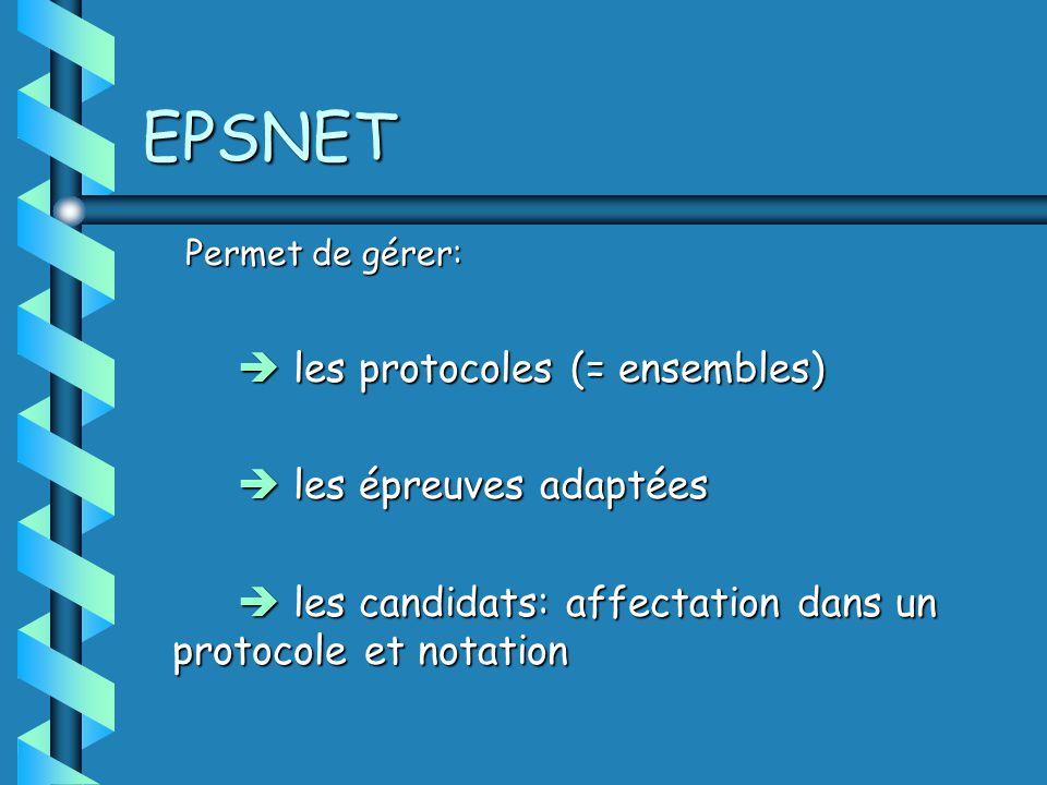 EPSNET Permet de gérer: les protocoles (= ensembles) les protocoles (= ensembles) les épreuves adaptées les épreuves adaptées les candidats: affectation dans un protocole et notation les candidats: affectation dans un protocole et notation