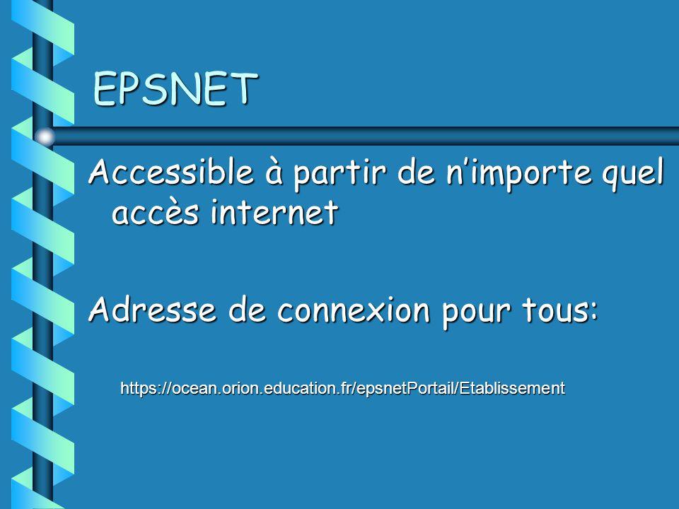 EPSNET Accessible à partir de nimporte quel accès internet Adresse de connexion pour tous: https://ocean.orion.education.fr/epsnetPortail/Etablissement