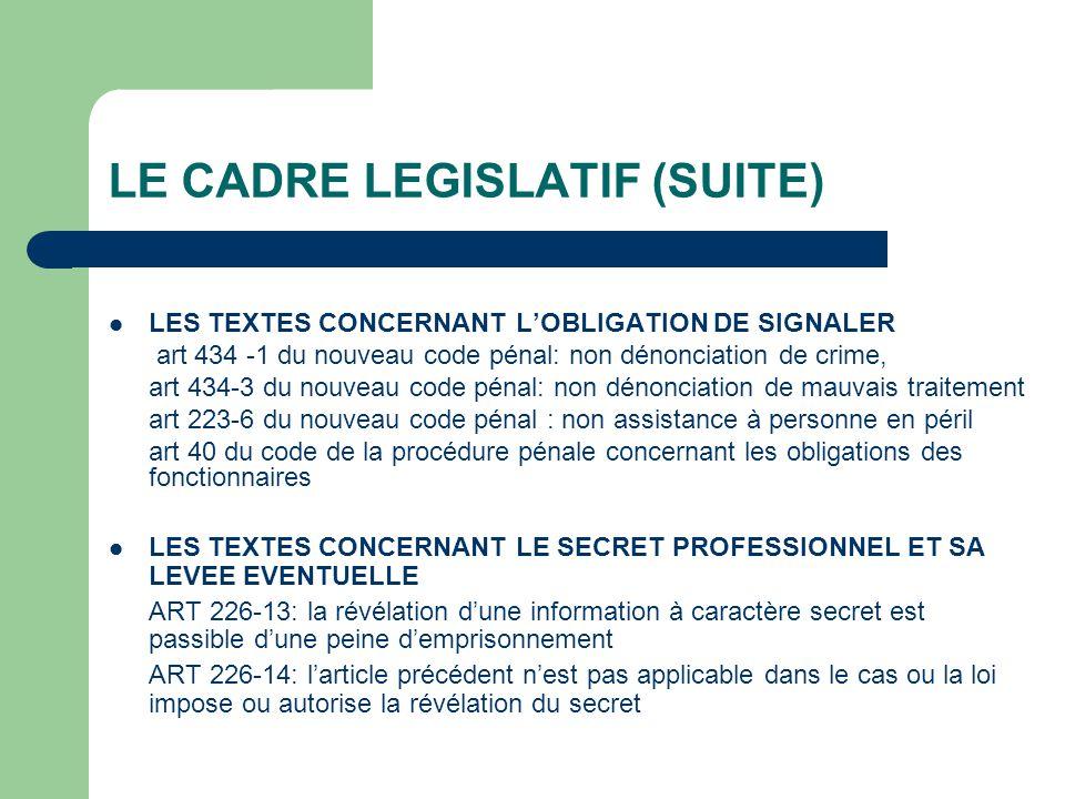 LE CADRE LEGISLATIF (SUITE) LES TEXTES CONCERNANT LOBLIGATION DE SIGNALER art 434 -1 du nouveau code pénal: non dénonciation de crime, art 434-3 du no