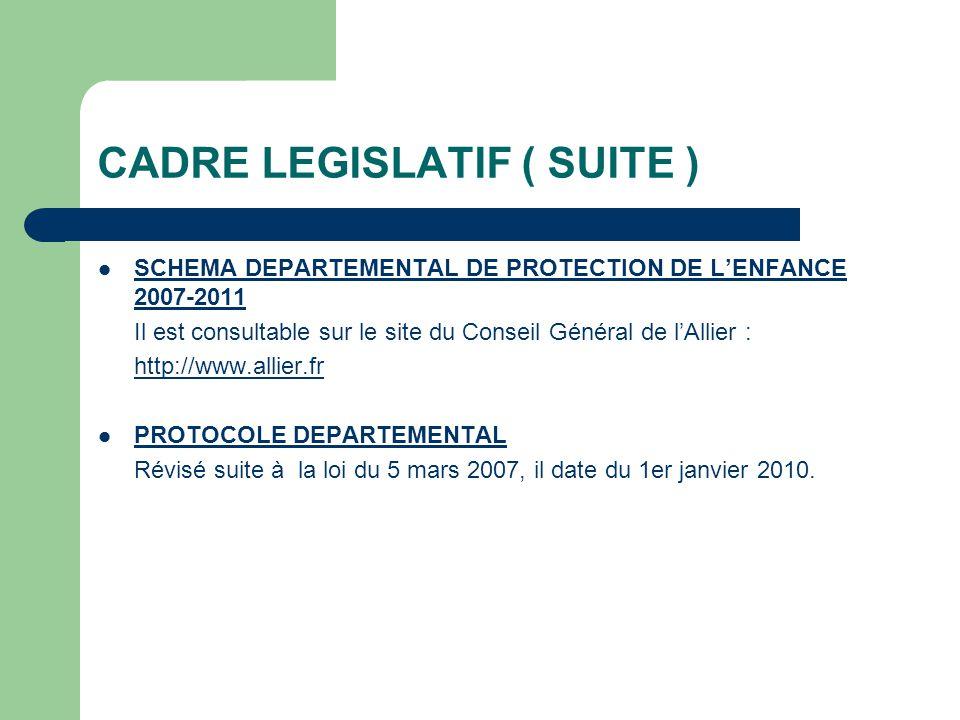 CADRE LEGISLATIF ( SUITE ) SCHEMA DEPARTEMENTAL DE PROTECTION DE LENFANCE 2007-2011 Il est consultable sur le site du Conseil Général de lAllier : htt
