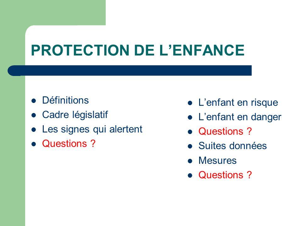 Définitions Cadre législatif Les signes qui alertent Questions ? Lenfant en risque Lenfant en danger Questions ? Suites données Mesures Questions ?
