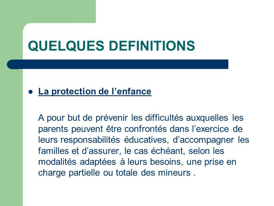 QUELQUES DEFINITIONS La protection de lenfance A pour but de prévenir les difficultés auxquelles les parents peuvent être confrontés dans lexercice de