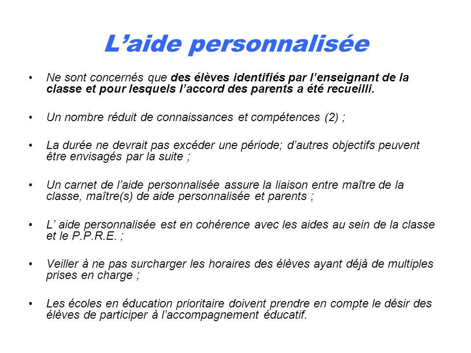 Laide personnalisée Ne sont concernés que des élèves identifiés par lenseignant de la classe et pour lesquels laccord des parents a été recueilli. Un