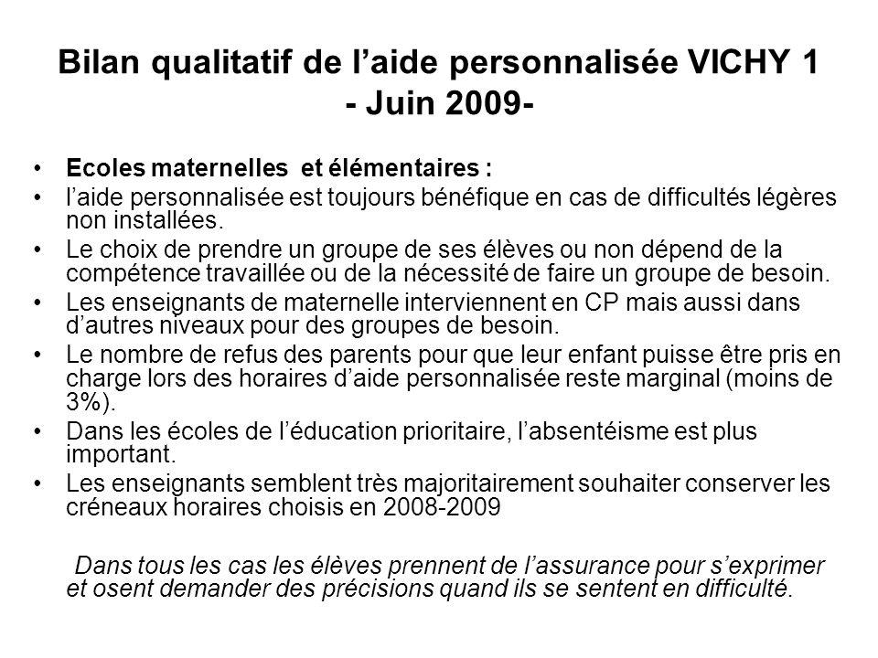 Bilan qualitatif de laide personnalisée VICHY 1 - Juin 2009- Ecoles maternelles et élémentaires : laide personnalisée est toujours bénéfique en cas de difficultés légères non installées.