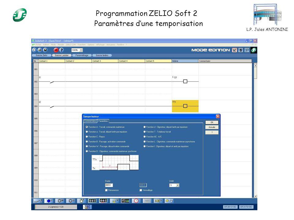 L.P. Jules ANTONINI Programmation ZELIO Soft 2 Paramètres dune temporisation
