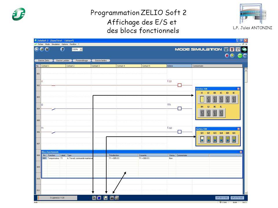 L.P. Jules ANTONINI Programmation ZELIO Soft 2 Affichage des E/S et des blocs fonctionnels