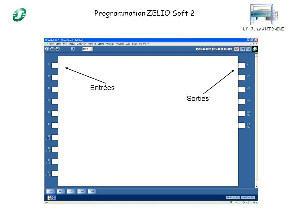 L.P. Jules ANTONINI Programmation ZELIO Soft 2 Entrées Sorties