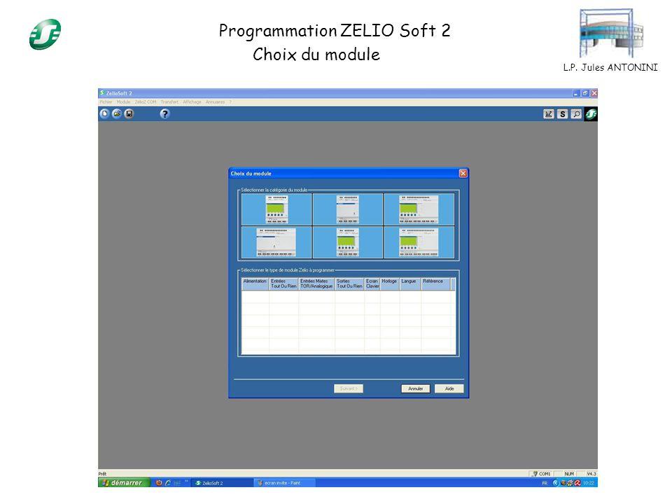 L.P. Jules ANTONINI Programmation ZELIO Soft 2 Choix du module