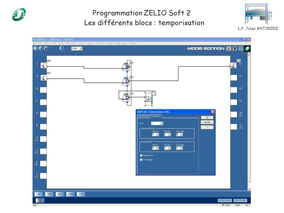 L.P. Jules ANTONINI Programmation ZELIO Soft 2 Les différents blocs : temporisation