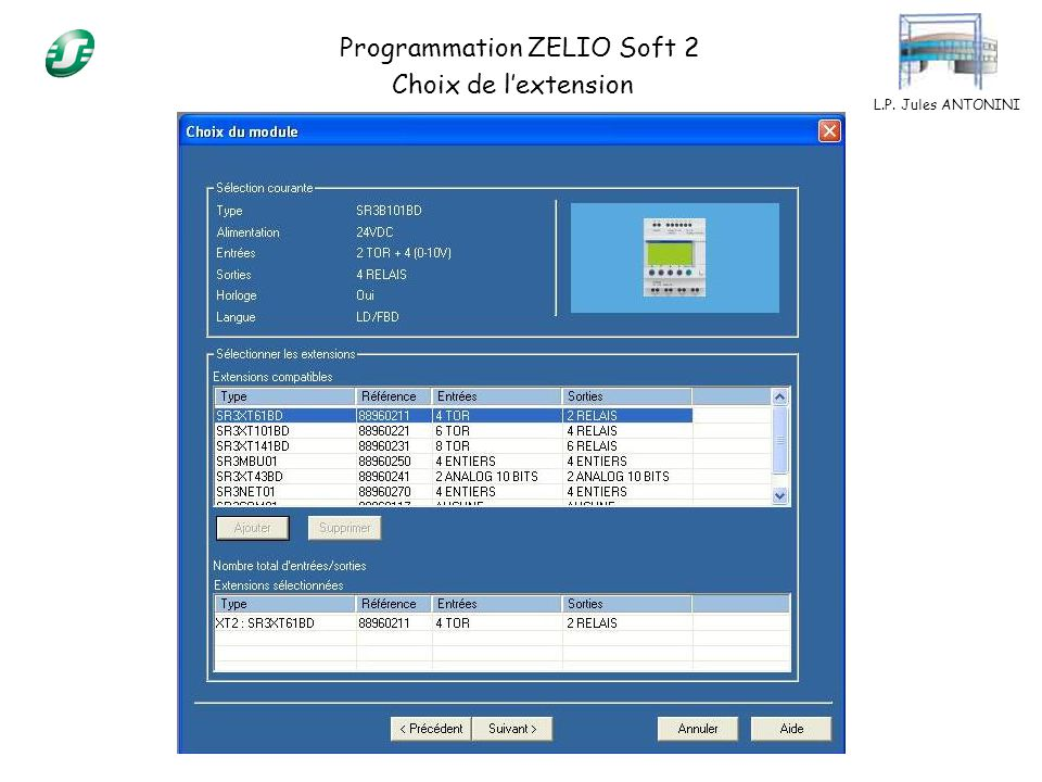 L.P. Jules ANTONINI Programmation ZELIO Soft 2 Sélection du type de programmation
