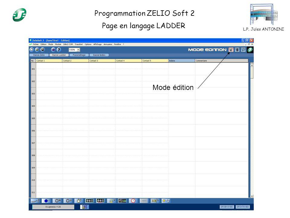 L.P. Jules ANTONINI Programmation ZELIO Soft 2 Page en langage LADDER Mode édition