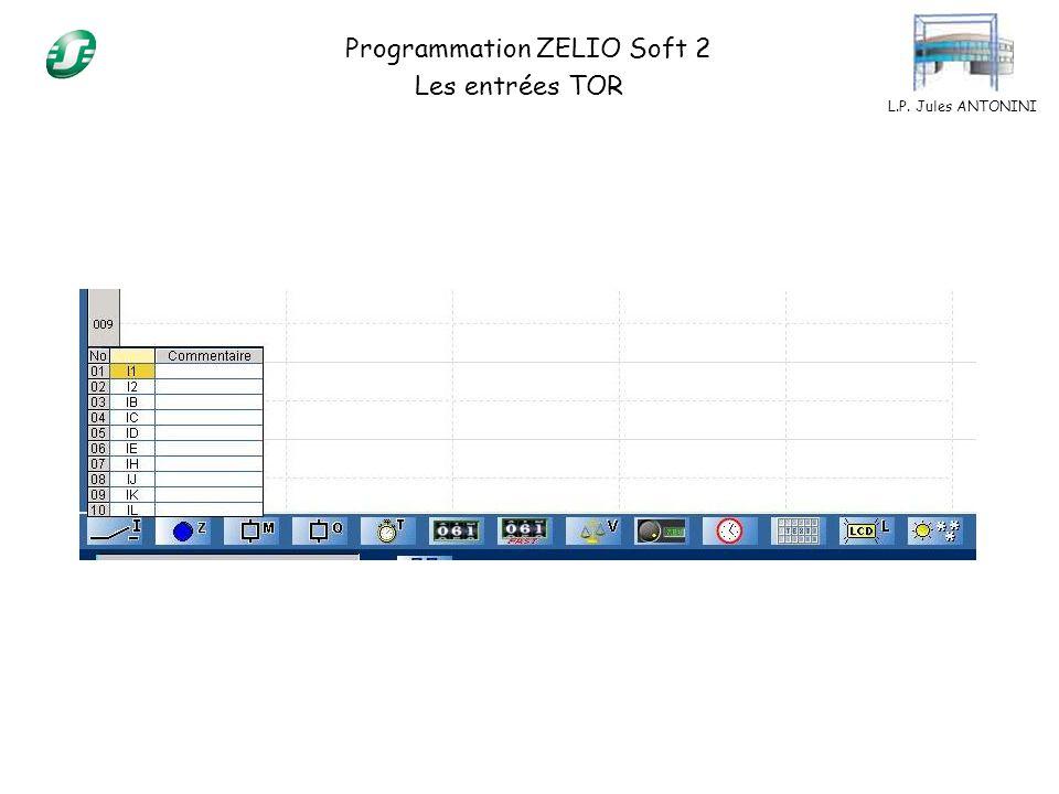 L.P. Jules ANTONINI Programmation ZELIO Soft 2 Les entrées TOR