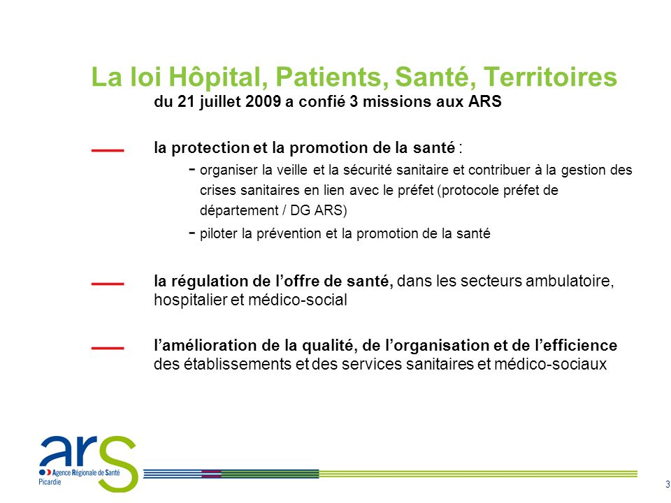 4 En Picardie, des indicateurs socio-sanitaires défavorables une pyramide des âges plus jeune que la moyenne française : 26.6% de la population est âgée de moins de 20 ans en 2006 (24.8% en France) des indicateurs sociaux défavorables : taux important dallocataires à l API (Allocation Parent Isolé) et à l AAH (Allocation aux Adultes Handicapés) une forte surmortalité comparée à la moyenne nationale : 1.5 année de vie en moins à la naissance un taux de chômage supérieur à celui de la métropole, dû à un faible niveau de formation, avec des disparités entre le nord et le sud de la région une offre de soin ambulatoire inférieure aux moyennes nationales et la plus faible densité médicale libérale de France une offre de soins hospitaliers mise en œuvre par 54 établissements publics et 19 établissements privés une offre de soins médico-sociale à hauteur de 42 places pour 1000 personnes de plus de 60 ans