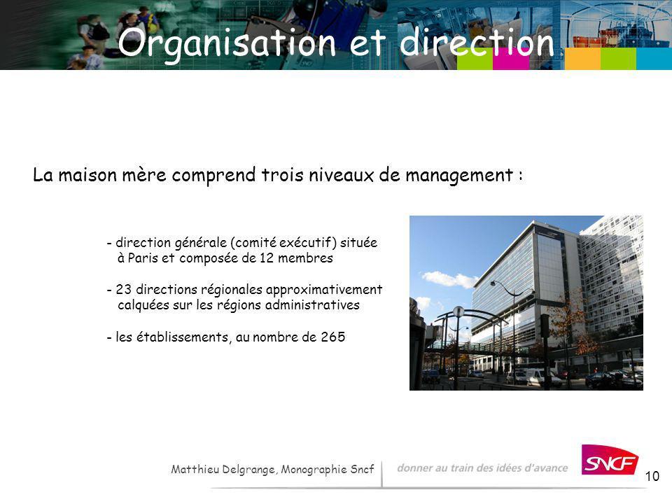 LH / I&R – - 2007 10 Organisation et direction La maison mère comprend trois niveaux de management : - direction générale (comité exécutif) située à P
