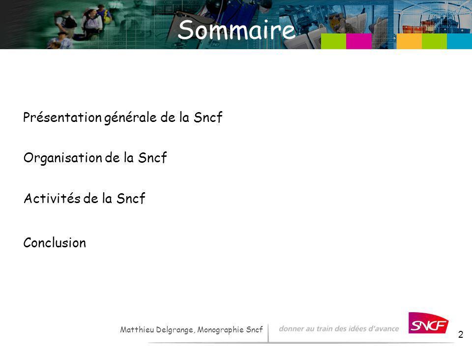 LH / I&R – - 2007 2 Matthieu Delgrange, Monographie Sncf Sommaire Présentation générale de la Sncf Organisation de la Sncf Activités de la Sncf Conclu