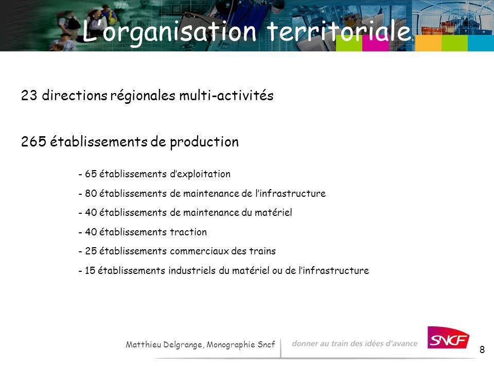 LH / I&R – - 2007 8 Lorganisation territoriale 23 directions régionales multi-activités - 65 établissements dexploitation - 80 établissements de maint