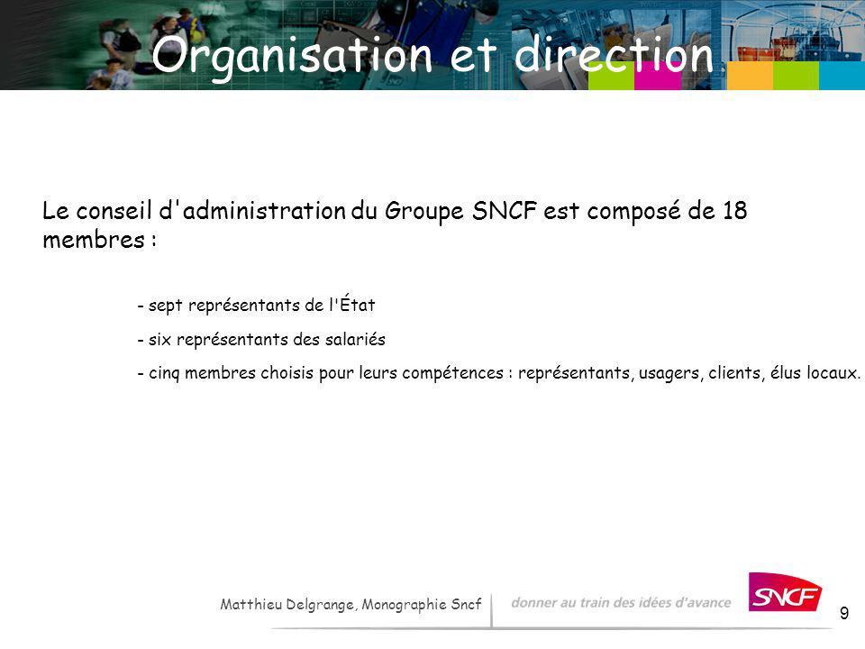 LH / I&R – - 2007 9 Organisation et direction Le conseil d'administration du Groupe SNCF est composé de 18 membres : - sept représentants de l'État -