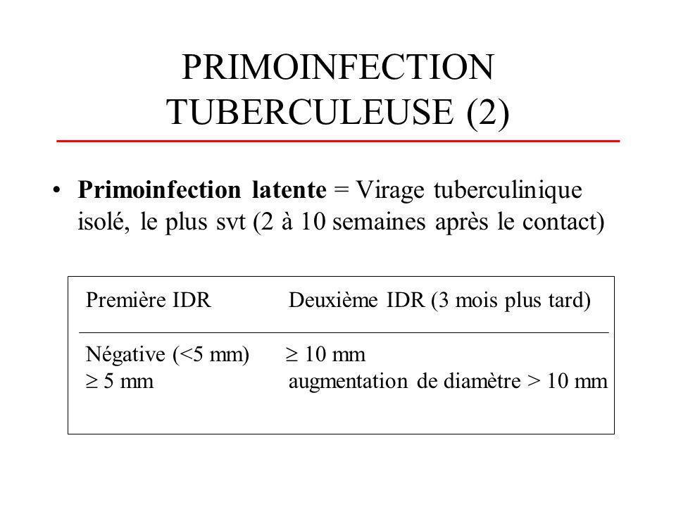 PRIMOINFECTION TUBERCULEUSE (2) Primoinfection latente = Virage tuberculinique isolé, le plus svt (2 à 10 semaines après le contact) Première IDRDeuxi