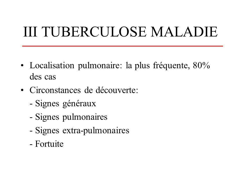 Localisation pulmonaire: la plus fréquente, 80% des cas Circonstances de découverte: - Signes généraux - Signes pulmonaires - Signes extra-pulmonaires