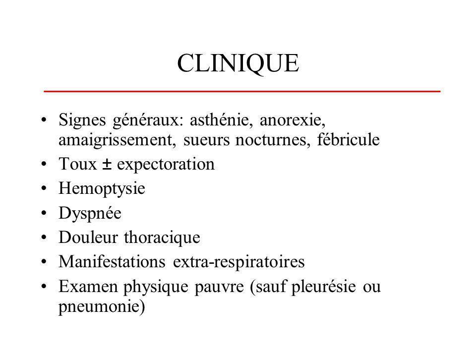 CLINIQUE Signes généraux: asthénie, anorexie, amaigrissement, sueurs nocturnes, fébricule Toux ± expectoration Hemoptysie Dyspnée Douleur thoracique M