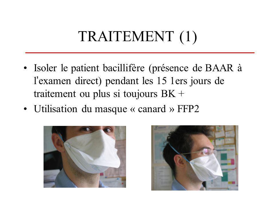 TRAITEMENT (1) Isoler le patient bacillifère (présence de BAAR à lexamen direct) pendant les 15 1ers jours de traitement ou plus si toujours BK + Util