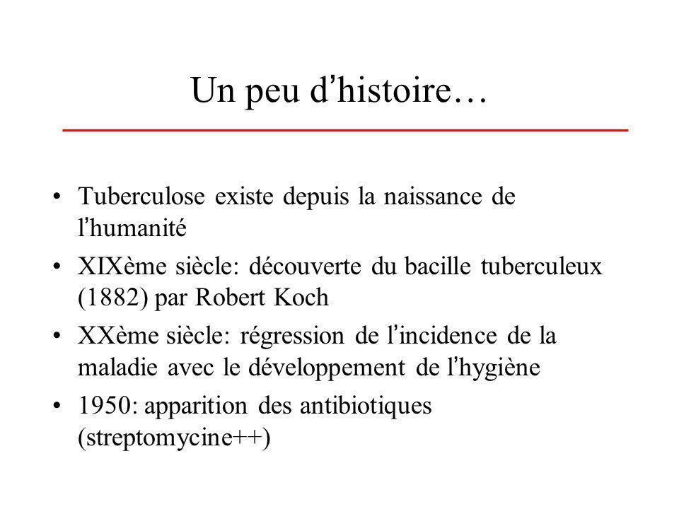 Un peu dhistoire… Tuberculose existe depuis la naissance de lhumanité XIXème siècle: découverte du bacille tuberculeux (1882) par Robert Koch XXème si