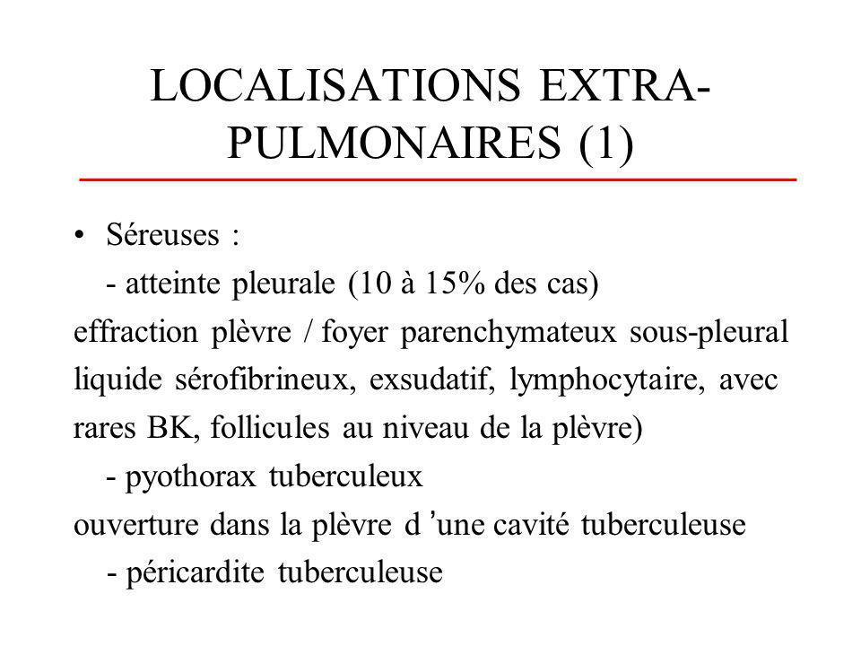 LOCALISATIONS EXTRA- PULMONAIRES (1) Séreuses : - atteinte pleurale (10 à 15% des cas) effraction plèvre / foyer parenchymateux sous-pleural liquide s