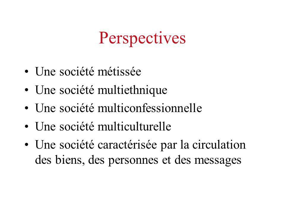 Perspectives Une société métissée Une société multiethnique Une société multiconfessionnelle Une société multiculturelle Une société caractérisée par la circulation des biens, des personnes et des messages